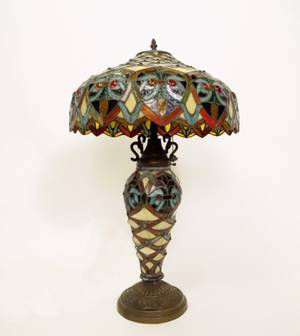 Tiffany Style Leaded Art Glass Table Lamp