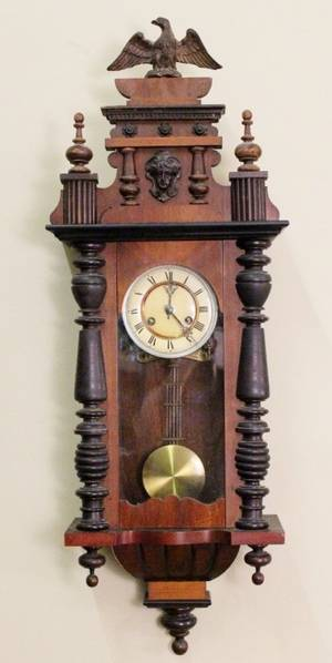 Carved  Turned Wood Wall Clock