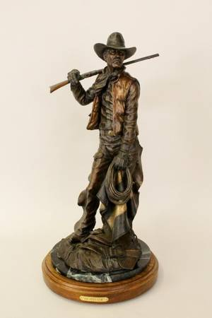 Large Outfitter Bronze Statue Signed