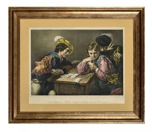 The Players Color Lithograph After Caravaggio Circa
