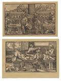 Three Woodcuts Depicting a Playing Card Game Chess and