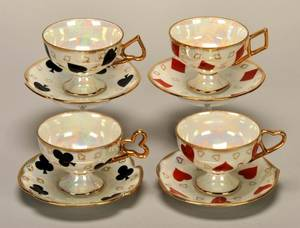 Four Coffee Cups  Saucers with Playing Cards Maker