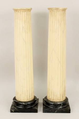 Pair of Faux Marble Painted Fluted Pedestals