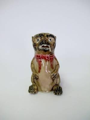 Majolica Figural Pug Pitcher