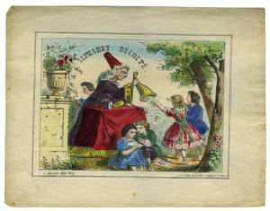Cups  Balls Alphabet Dcoup hand colored print 1860