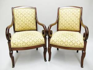 Pair of Mahogany Upholstered Armchairs