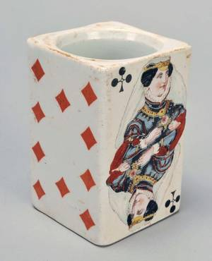 Porcelain French Mustard Pot with Playing Cards Ca