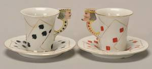 Pair of Porcelain Demitasse Cups and Saucers with