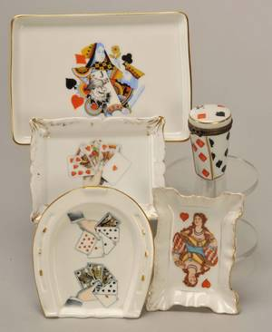Four Small Porcelain Trays with playing cards Ca