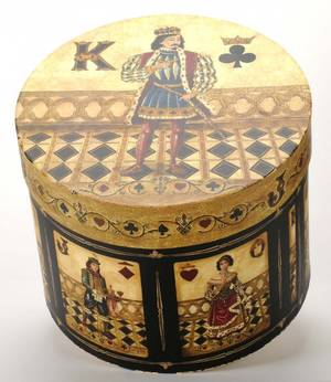 Large Hat Box with playing card motif Large round hat