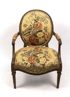 Louis XVI Style Paint Decorated Fauteuil