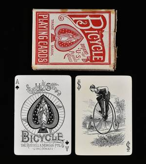 Russell  Morgan Ptg Co Bicycle Rider Back Playing