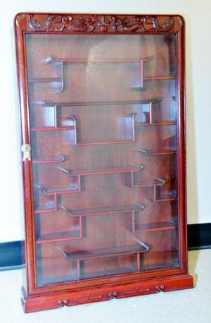 Oriental Red Stained Wood Wall Display Cabinet