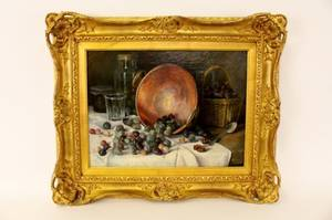 19th C French Still Life wGrapes Signed Hudelot