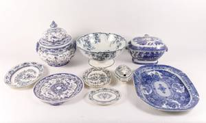 8 Piece Group of Assorted Blue  White Porcelain