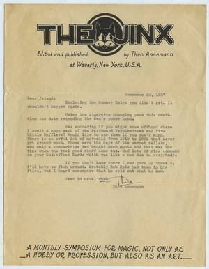 Annemann Theo File of Signed Items Ephemera and