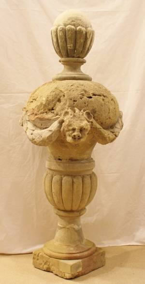 French 18th C Carved Stone Finial Urn