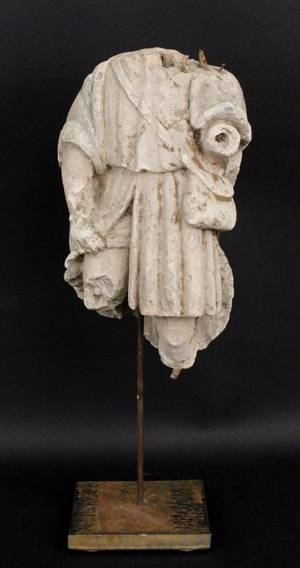 Carved Limestone Figural Fragment