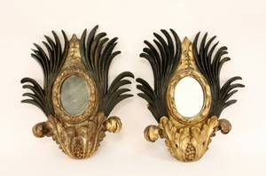 Pair of Carved Gilt Wood Mirrored Sconces