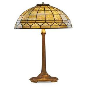 Tiffany studios colonial table lamp new york 1900s leaded slag glass gilt bronze three sockets shade stamped tiffany studios new york 900 base stamped tiffany studios new york 533 23 x 16