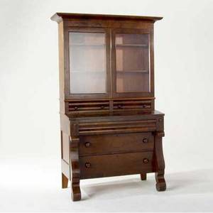 American empire fall front mahogany veneer secretary desk with glass doors fitted with shelves 74 12 x 24 x 40
