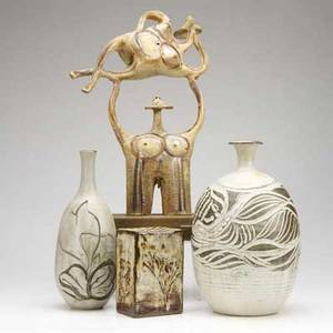 Hal fromhold berkshire pottery john brock  judie four stoneware piece hal fromhold sculpture two stoneware vases with incised decorations and flower frog with impressed leaf designs all signed