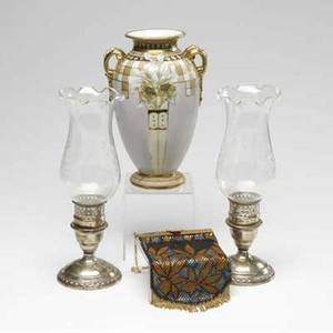 Nippon vase together with a pair of silverplated hurricanes and an enameled mesh bag tallest 8 34