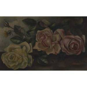 Early 20th c american untitled still life with roses oil on board framed signed and dated illegibly provenance private collection new jersey 9 14 x 14 12 17 12 x 22 12 frame