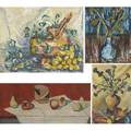 Still life paintings nine works of art two on canvas three on board four on paper some signed illegibly smallest 6 12 x 5 largest 29 x 19 12