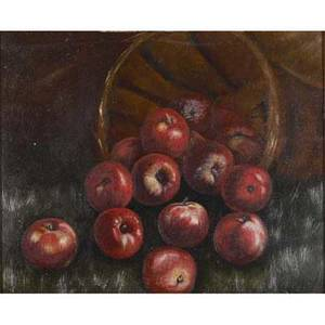 Still life untitled apples 19th20th c oil on board framed unsigned provenance private collection new jersey 10 14 x 12 12