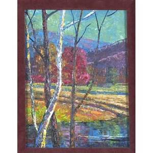 Vernon wood american 19231995 untitled oil on board framed signed provenance private collection pennsylvania 7 12 x 5 12 sight