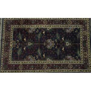 William morris style area rug with floral pattern on midnight blue field 4 x 6