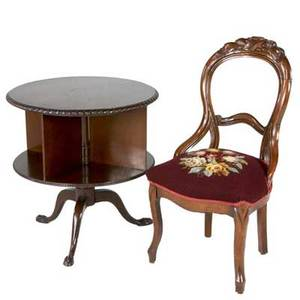 Sheraton style mahogany drum table with paw feet together with a victorian mahogany balloon back chair table 27 12 x 26 dia