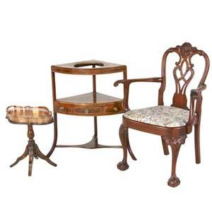 Sheraton style wash stand with single drawer mahogany armchair with carved backsplat shell details and ball and claw feet and a similar butlers tray table with copper tray chair 40 x 31 x 24