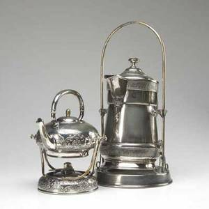 Tea ware silver plated water pitcher on stand marked simpson hall miller  co quadruple plate together with a silver plated tea kettle on stand with original burner by wilcox silver plate co water p