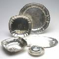 Silver holloware five pieces includes covered butter dish salver two trays and a bowl largest 13 12 dia 44 ot tw