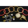 Mid 20th c jewelry nine pieces including bakelite and theroplastic