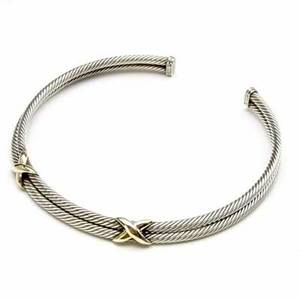 David yurman classic collar with double sterling cable with 14k yg stations