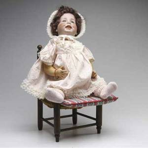 Bisque head doll simon halbig german bisque head doll with childs chair 26 with chair