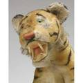 Stuffed tiger possibly steiff seated on hind legs with glass eyes and wooden teeth 16 tall