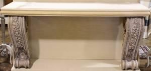 Terra Cotta Console Table wLimestone Top
