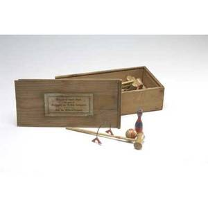 German table croquet set eight wooden mallets and balls and ten metal hoops mallets 11 14