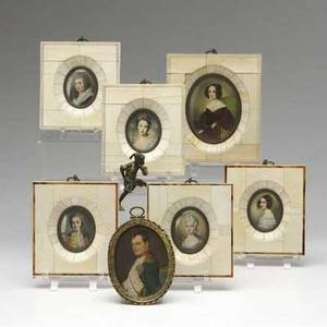 Portrait miniatures framed in ivory depicting french and german royalty and courtiers together with a framed portrait of napoleon largest 5 12 x 4 34
