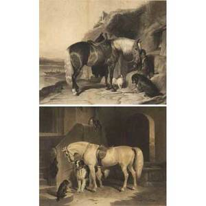 Thomas landseer british 17951880 after edwin landseer british 18021873 two engravings framed favorite pony and spaniels 1841 signed by both in the plate 23 x 27 12 plate favorites