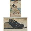 20th c woodblocks two prints winchelsea sussex color woodblock signed illegibly chop mark 8 x 16 untitled samuri color woodblock signed chop mark 16 x 10