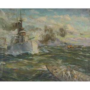 Vladimir kadulin 20th century untitled naval battle oil on canvas framed signed provenance private collection new jersey 24 x 30