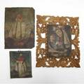 Retablos three retablos of religions figures on tin or wood one accompanied by ornate wooden frame largest 14 x 10
