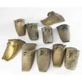 South american stirrups ten pieces some decorated in low relief some incised largest 5 x 11 12