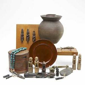 Collection of asian items includes an unusual bizen style pot indonesian lacquer box with fitted interior 20th c japanese lacquer plate in original box carved stone ax head brass yatate with bru