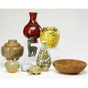 Collection of porcelain and glass nine pieces including austrian ceramic brown glazed covered jar glass apple paperweight and various other items tallest 8 12